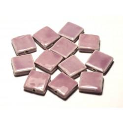 5pc - Perles Céramique Porcelaine Carrés 16-18mm Rose Mauve - 8741140017061