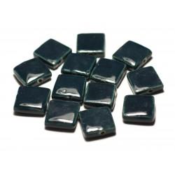 5pc - Perles Céramique Porcelaine Carrés 16-18mm Bleu Vert Marine Pétrole - 8741140017078