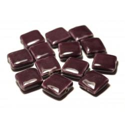 5pc - Perles Céramique Porcelaine Carrés 16-18mm Violet Prune - 8741140017092
