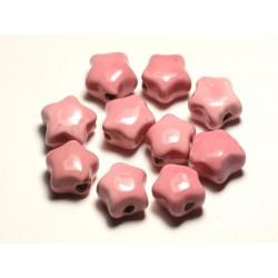 4pc - Perles Céramique Porcelaine Etoiles 16mm Rose clair Pastel - 8741140017320