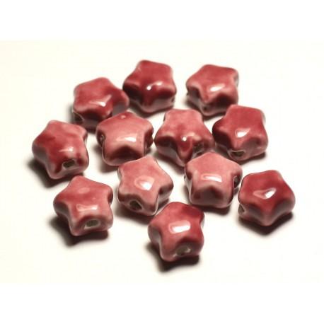6pc - Perles Céramique Porcelaine Etoiles 16mm Rose Corail Pêche - 8741140017337