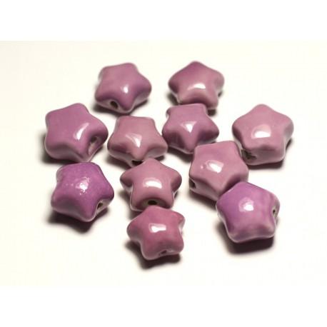 6pc - Perles Céramique Porcelaine Etoiles 16mm Rose Mauve - 8741140017344