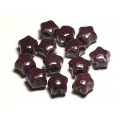 6pc - Perles Céramique Porcelaine Etoiles 16mm Violet Prune - 8741140017351