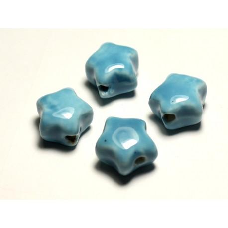 4pc - Perles Céramique Porcelaine Etoiles 16mm Bleu Turquoise - 8741140017368