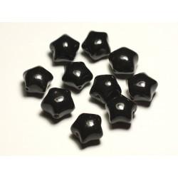 6pc - Perles Céramique Porcelaine Etoiles 16mm Noir - 8741140017405