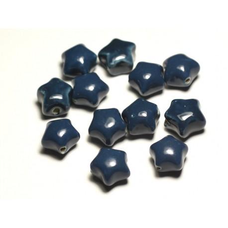 6pc - Perles Céramique Porcelaine Etoiles 16mm Bleu Vert Paon Canard Pétrole - 8741140017412