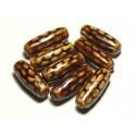 2pc - Keramik Perlen Porzellan Oliven Reis Spindeln 31mm Kaffee Brown Ocker - 8741140017450
