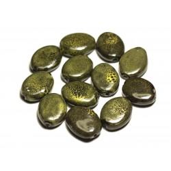 4pc - Perles Céramique Porcelaine Ovales 20-22mm Vert Olive Kaki Jaune Tacheté - 8741140017535