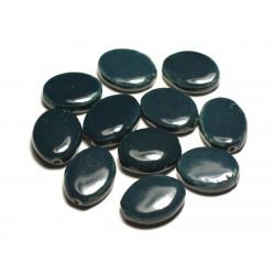 4pc - Perles Céramique Porcelaine Ovales 20-22mm Bleu Vert Paon Canard Pétrole - 8741140017542