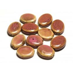 4pc - Perles Céramique Porcelaine Ovales 20-22mm Rose Bonbon Jaune Tacheté - 8741140017559