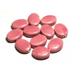 4pc - Perles Céramique Porcelaine Ovales 20-22mm Rose Bonbon Corail Pêche - 8741140017566