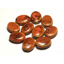 4pc - Perles Céramique Porcelaine Ovales 20-22mm Orange Tacheté - 8741140017573