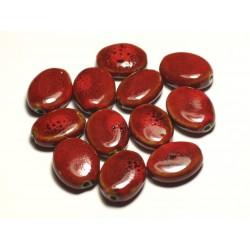 4pc - Perles Céramique Porcelaine Ovales 20-22mm Rouge Tacheté - 8741140017580