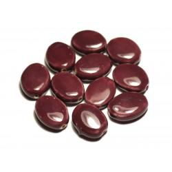 4pc - Perles Céramique Porcelaine Ovales 20-22mm Violet Prune - 8741140017597