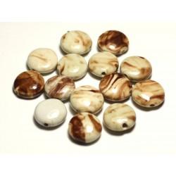 4pc - Perles Céramique Porcelaine Palets 16mm Blanc Ecru Beige Marron - 8741140017689