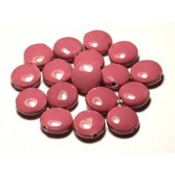 4pc - Perles Céramique Porcelaine Palets 16mm Rose Corail Pêche - 8741140017733