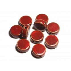 4pc - Perles Céramique Porcelaine Palets 20mm Rouge - 8741140014923