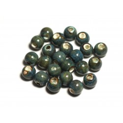 10pc - Perles Céramique Porcelaine Boules 6mm Bleu Turquoise tacheté - 4558550005229