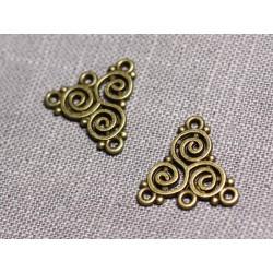 10pc - Connecteurs Pendentifs Boucles d'oreilles Métal Bronze Triangles Spirales 19mm - 4558550095244