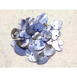 10pc - Perles Breloques Pendentifs Nacre Coeurs 18mm Bleu Pastel Lavande - 4558550039934