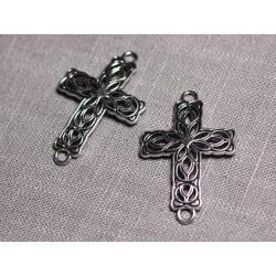 2pc - Grands Connecteurs Pendentifs Boucles d'oreilles Métal Argenté Croix Celtique Arabesques 42mm - 4558550095374