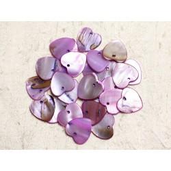 10pc - Perles Breloques Pendentifs Nacre Coeurs 18mm Violet Rose - 4558550039958