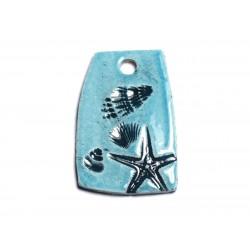 N1 - Pendentif Porcelaine Céramique Etoile de Mer Coquillages 42mm Bleu Turquoise - 8741140003842
