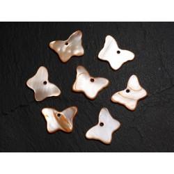 10pc - Perles Breloques Pendentifs Nacre Papillons 20mm Orange - 4558550014290