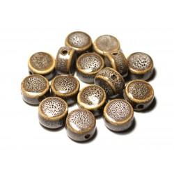 4pc - Perles Céramique Porcelaine Palets 15mm Marron Beige Ocre - 8741140010567