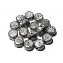 4pc - Perles Céramique Porcelaine Palets 15mm Gris Noir - 8741140010550