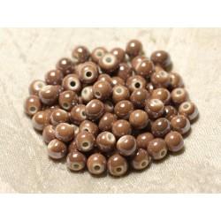 20pc - Perles Céramique Porcelaine Boules 6mm Marron Beige irisé - 8741140010628