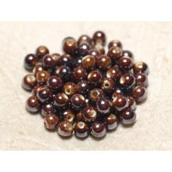 20pc - Perles Céramique Porcelaine Boules 6mm Marron Café irisé - 8741140010697