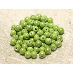 20pc - Perles Céramique Porcelaine Boules 6mm Vert clair anis irisé - 8741140010666