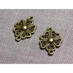 10pc - Connecteurs Pendentifs Boucles d'oreilles Métal Bronze Fleur Trèfle 4 Feuilles 20mm - 4558550095282