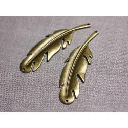 2pc - Grands Pendentifs Connecteurs Métal Bronze Plumes 68mm - 4558550095220