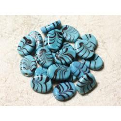 6pc - Perles en Verre Ovales 18x13mm Bleu Turquoise 4558550005113