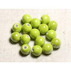 10pc - Perles Céramique Porcelaine Boules 12mm Vert Citron Lime irisé - 4558550088840