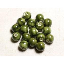 10pc - Perles Céramique Porcelaine Boules 12mm Vert Olive Kaki - 4558550088857