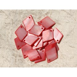 10pc - Breloques Pendentifs Nacre Losanges 21mm Rouge Rose - 4558550005243