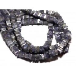10pc - Perles de Pierre - Tanzanite Carrés Heishi 3-4mm - 8741140008960