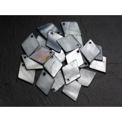 10pc - Perles Breloques Pendentifs Nacre Losanges 21mm Gris Noir 4558550005366