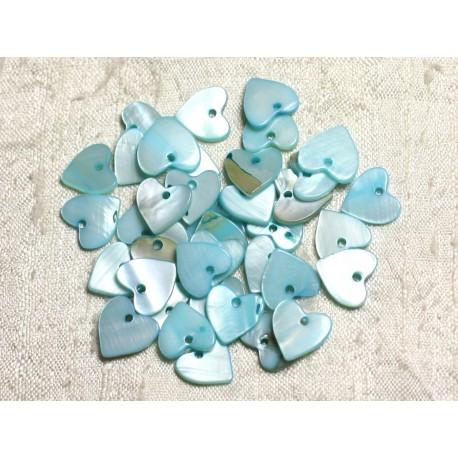 10pc - Breloques Pendentifs Nacre Coeurs 11mm Bleu Turquoise Pastel - 4558550039910