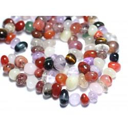 10pc - Perles de Pierre - Lot Mélange Multicolore Galets roulés 8-12mm - 8741140008564