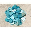 10pc - Colgantes de nácar Charms Hearts 11mm Azul turquesa 4558550006745