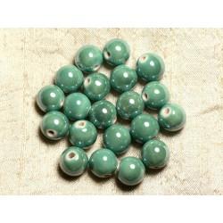 10pc - Perles Porcelaine Céramique Vert Turquoise irisé Boules 12mm 4558550009548