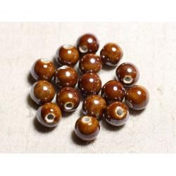 10pc - Perles Céramique Porcelaine Boules 12mm Marron irisé - 4558550088833