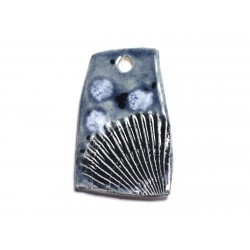 N6 - Pendentif Porcelaine Céramique Empreintes Mer Coquillage 50mm Gris Bleu Anthracite - 8741140003897