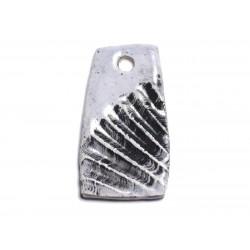 N7 - Pendentif Porcelaine Céramique Empreintes Mer Coquillage 45mm Gris clair perle - 8741140003903