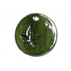 N53 - Pendentif Porcelaine Céramique Empreintes Nature Feuille Rond 43mm Vert Olive - 8741140004368