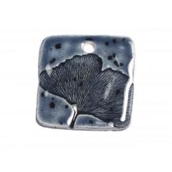 N56 - Pendentif Porcelaine Céramique Nature Feuille Ginkgo Carré 39mm Gris Bleu Anthracite - 8741140004399